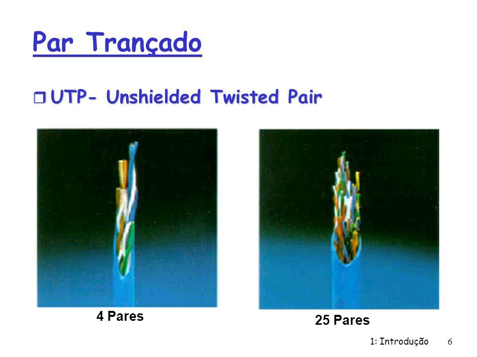 1: Introdução 6 Par Trançado r UTP- Unshielded Twisted Pair 4 Pares 25 Pares