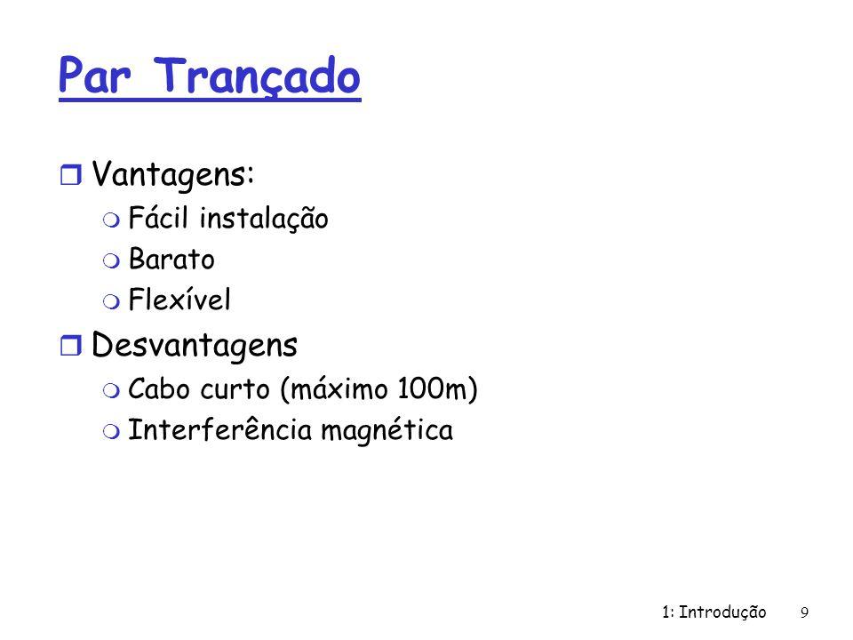 1: Introdução 9 Par Trançado r Vantagens: m Fácil instalação m Barato m Flexível r Desvantagens m Cabo curto (máximo 100m) m Interferência magnética