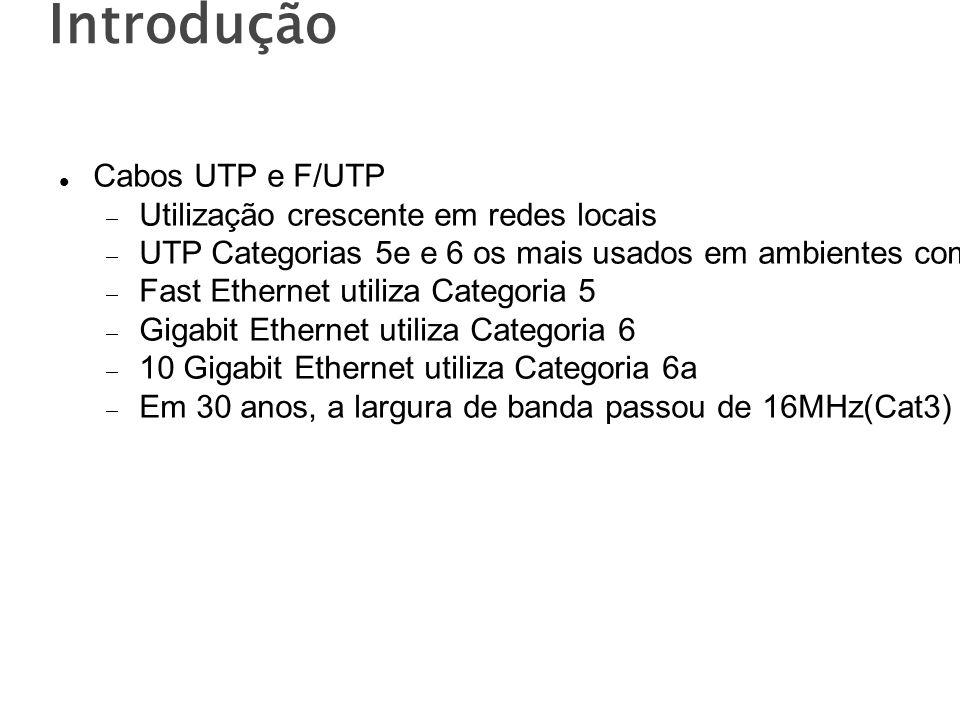 Introdução Cabos UTP e F/UTP Utilização crescente em redes locais UTP Categorias 5e e 6 os mais usados em ambientes comerciais típicos Fast Ethernet utiliza Categoria 5 Gigabit Ethernet utiliza Categoria 6 10 Gigabit Ethernet utiliza Categoria 6a Em 30 anos, a largura de banda passou de 16MHz(Cat3) para 1000MHz(Cat 7A)