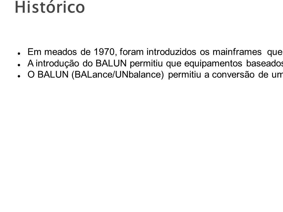 Histórico Em meados de 1970, foram introduzidos os mainframes que utilizavam cabos coaxiais A introdução do BALUN permitiu que equipamentos baseados em cabos coaxiais fosse atendidos pelos mesmos cabos de pares trançados usados para a voz.