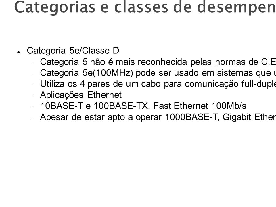 Categorias e classes de desempenho Categoria 5e/Classe D Categoria 5 não é mais reconhecida pelas normas de C.E.