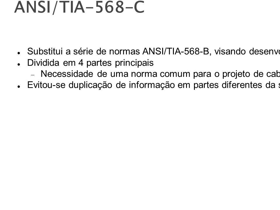 ANSI/TIA-568-C Substitui a série de normas ANSI/TIA-568-B, visando desenvolver documentos mais complexos e de consultas mais simples.