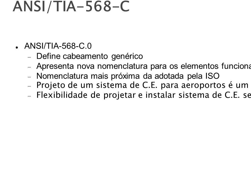 ANSI/TIA-568-C ANSI/TIA-568-C.0 Define cabeamento genérico Apresenta nova nomenclatura para os elementos funcionais do cabeamento Nomenclatura mais próxima da adotada pela ISO Projeto de um sistema de C.E.