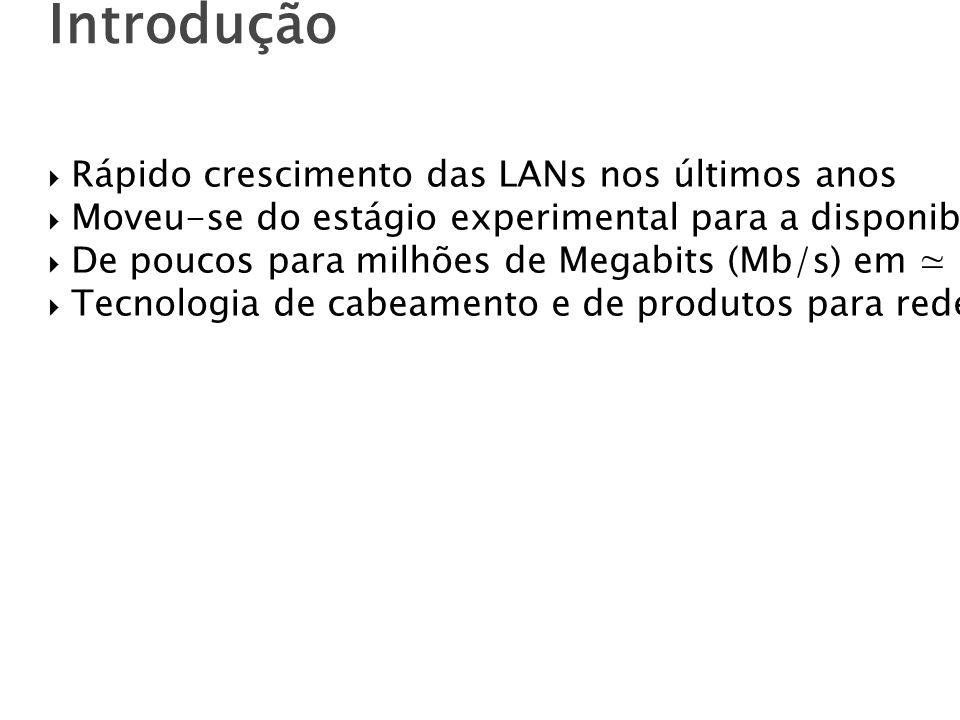 Introdução Rápido crescimento das LANs nos últimos anos Moveu-se do estágio experimental para a disponibilidade comercial De poucos para milhões de Megabits (Mb/s) em 20 anos.