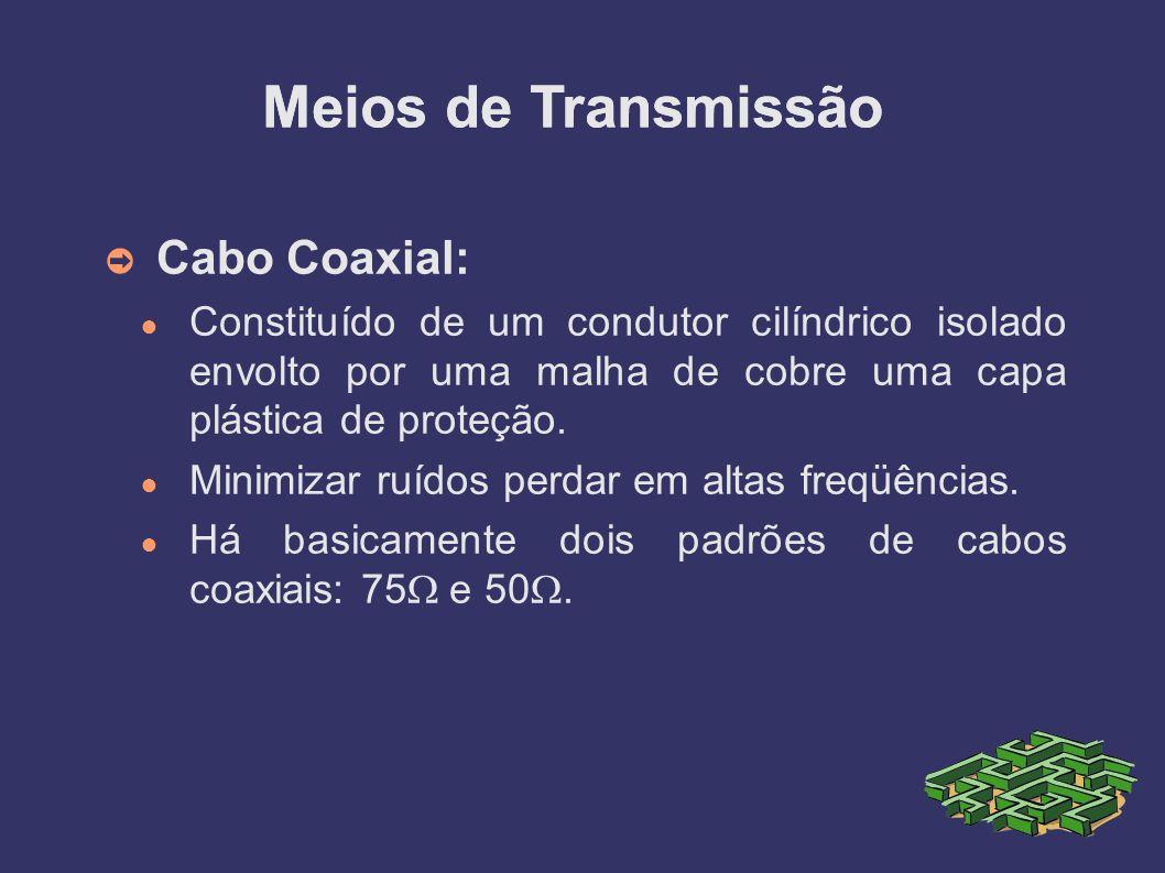 Cabo Coaxial: Constituído de um condutor cilíndrico isolado envolto por uma malha de cobre uma capa plástica de proteção.