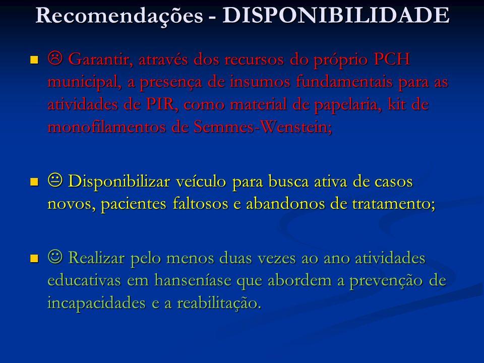 Recomendações - DISPONIBILIDADE Garantir, através dos recursos do próprio PCH municipal, a presença de insumos fundamentais para as atividades de PIR,