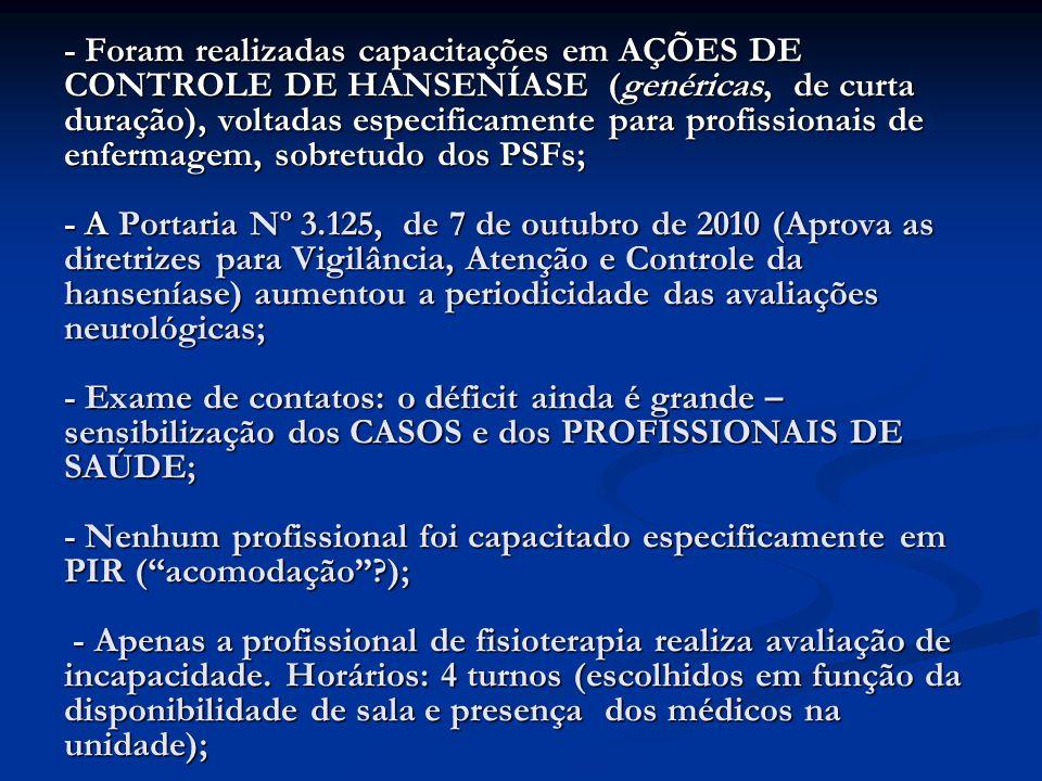 - Foram realizadas capacitações em AÇÕES DE CONTROLE DE HANSENÍASE (genéricas, de curta duração), voltadas especificamente para profissionais de enfer