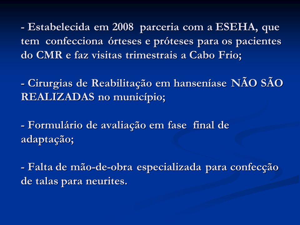 - Estabelecida em 2008 parceria com a ESEHA, que tem confecciona órteses e próteses para os pacientes do CMR e faz visitas trimestrais a Cabo Frio; -