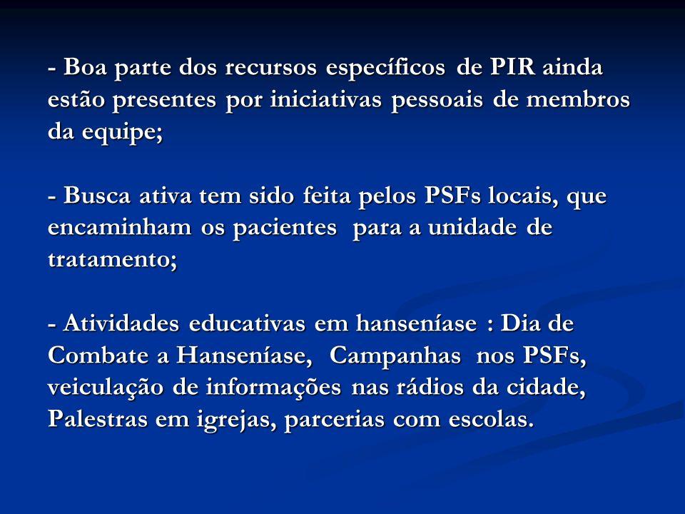 - Boa parte dos recursos específicos de PIR ainda estão presentes por iniciativas pessoais de membros da equipe; - Busca ativa tem sido feita pelos PS