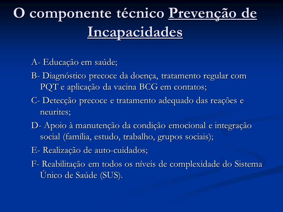 O componente técnico Prevenção de Incapacidades A- Educação em saúde; B- Diagnóstico precoce da doença, tratamento regular com PQT e aplicação da vacina BCG em contatos; C- Detecção precoce e tratamento adequado das reações e neurites; D- Apoio à manutenção da condição emocional e integração social (família, estudo, trabalho, grupos sociais); E- Realização de auto-cuidados; F- Reabilitação em todos os níveis de complexidade do Sistema Único de Saúde (SUS).