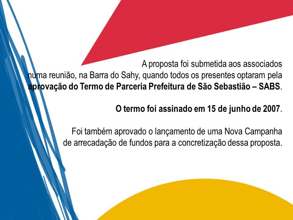 A proposta foi submetida aos associados numa reunião, na Barra do Sahy, quando todos os presentes optaram pela aprovação do Termo de Parceria Prefeitu