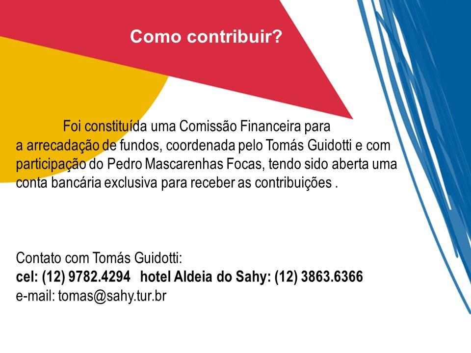 Como contribuir? Foi constituída uma Comissão Financeira para a arrecadação de fundos, coordenada pelo Tomás Guidotti e com participação do Pedro Masc