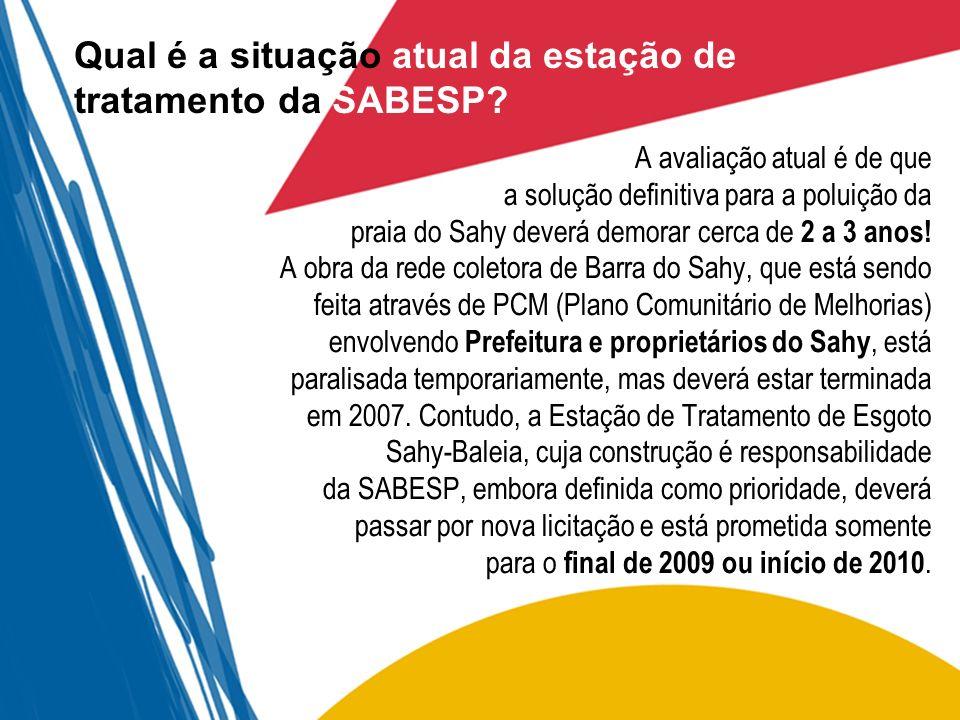 Qual é a situação atual da estação de tratamento da SABESP? A avaliação atual é de que a solução definitiva para a poluição da praia do Sahy deverá de