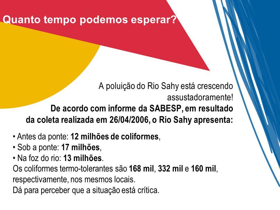 Quanto tempo podemos esperar? A poluição do Rio Sahy está crescendo assustadoramente! De acordo com informe da SABESP, em resultado da coleta realizad