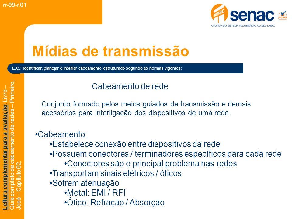 Mídias de transmissão rr-09-r.01 E.C.: Identificar, planejar e instalar cabeamento estruturado segundo as normas vigentes; Leitura complementar para a