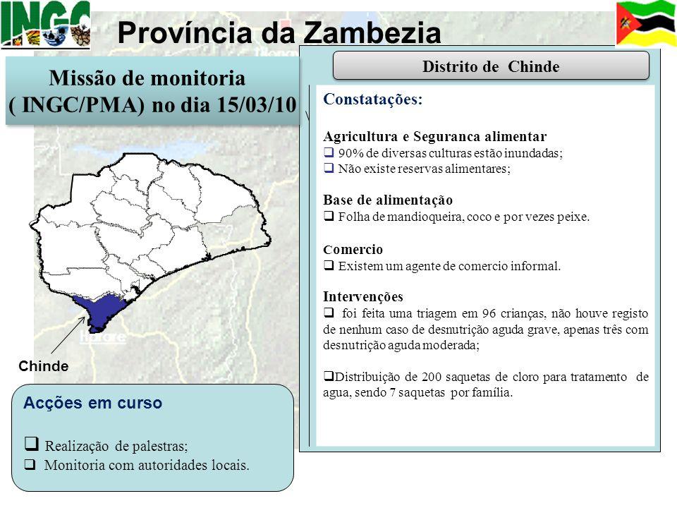 Província da Zambezia Constatações: Agricultura e Seguranca alimentar 90% de diversas culturas estão inundadas; Não existe reservas alimentares; Base