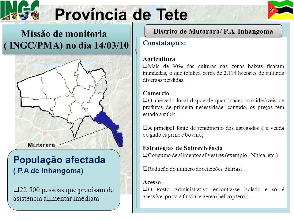 Província de Tete Constatações: Agricultura Mais de 90% das culturas nas zonas baixas ficaram inundadas, o que totaliza cerca de 2.114 hectares de cul