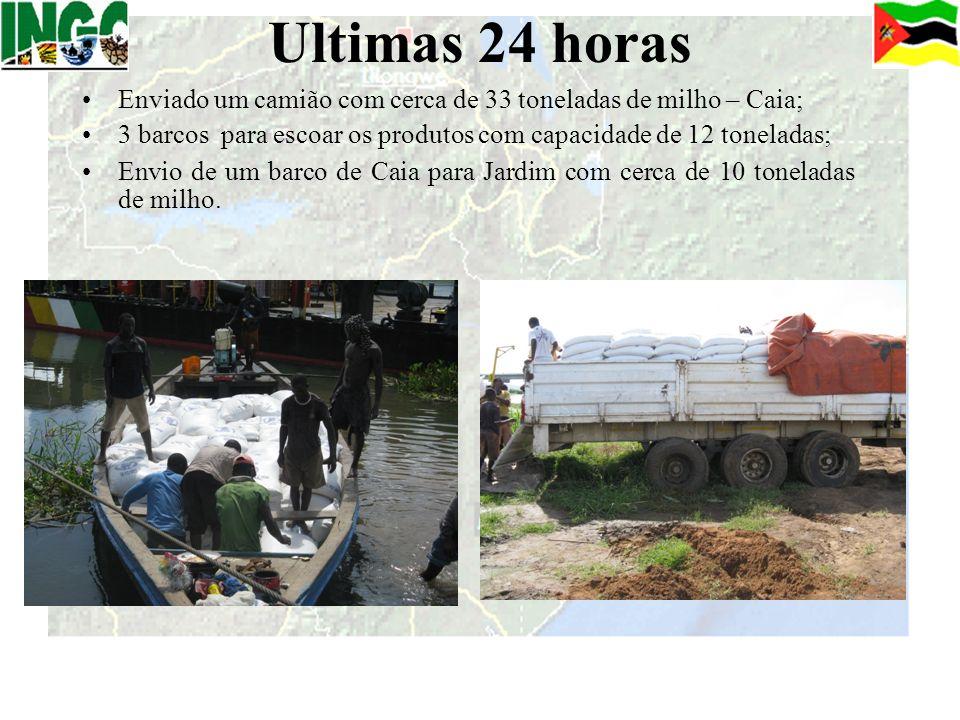 Ultimas 24 horas Enviado um camião com cerca de 33 toneladas de milho – Caia; 3 barcos para escoar os produtos com capacidade de 12 toneladas; Envio d
