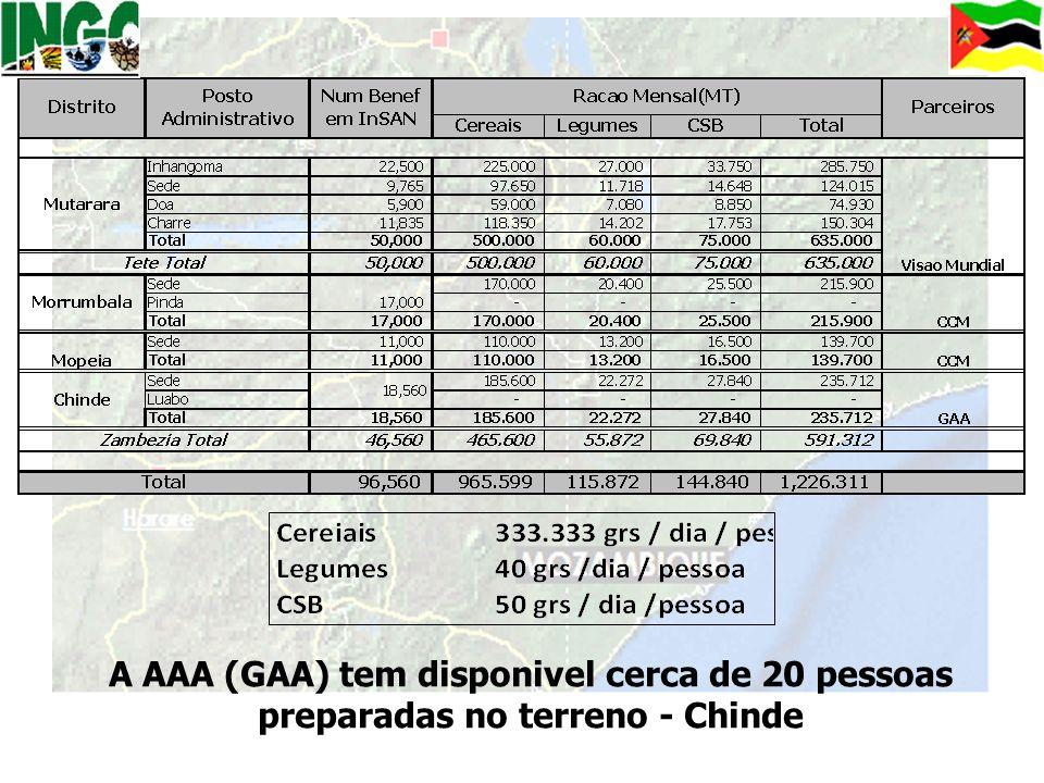 A AAA (GAA) tem disponivel cerca de 20 pessoas preparadas no terreno - Chinde