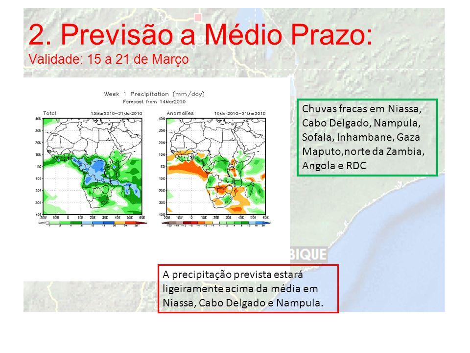 2. Previsão a Médio Prazo: Validade: 15 a 21 de Março Chuvas fracas em Niassa, Cabo Delgado, Nampula, Sofala, Inhambane, Gaza Maputo,norte da Zambia,