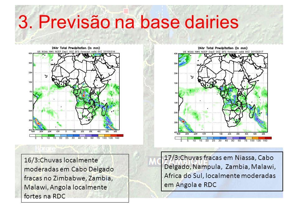3. Previsão na base dairies 16/3:Chuvas localmente moderadas em Cabo Delgado fracas no Zimbabwe, Zambia, Malawi, Angola localmente fortes na RDC 17/3: