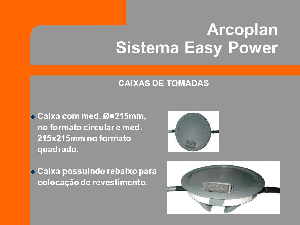 Arcoplan Sistema Easy Power CAIXAS DE TOMADAS Caixa com med. Ø=215mm, no formato circular e med. 215x215mm no formato quadrado. Caixa possuindo rebaix