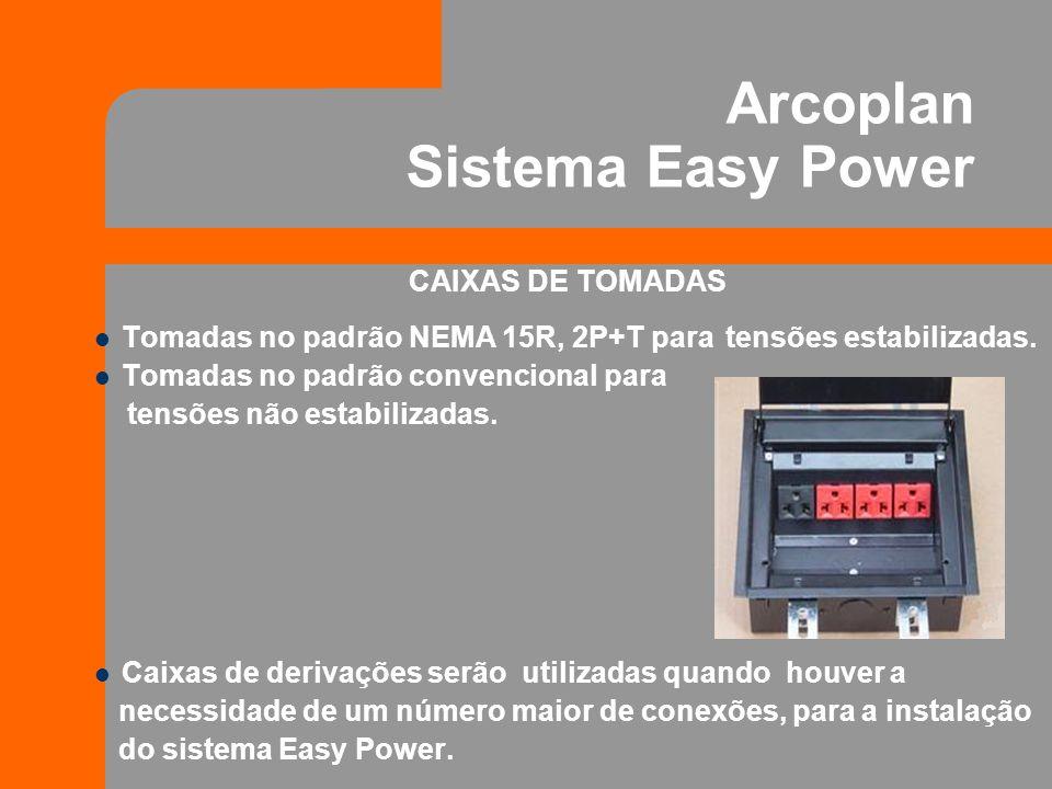 CABOS DE ENERGIA O Sistema Easy Power possui dois modelos de cabos: Cabos de alimentação: Utilizados para ligação do sistema junto ao quadro de energia.