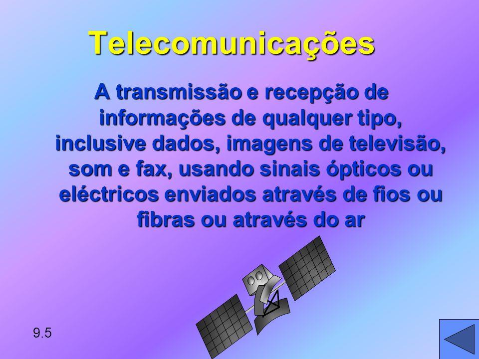 9.5 Telecomunicações A transmissão e recepção de informações de qualquer tipo, inclusive dados, imagens de televisão, som e fax, usando sinais ópticos ou eléctricos enviados através de fios ou fibras ou através do ar