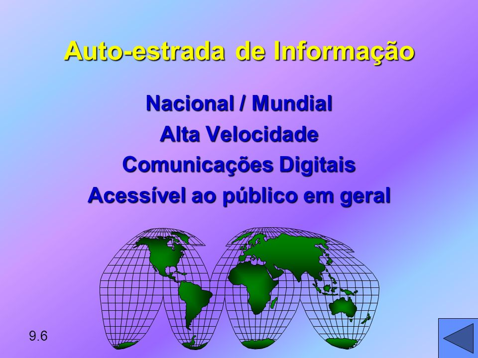 Auto-estrada de Informação Nacional / Mundial Alta Velocidade Comunicações Digitais Acessível ao público em geral 9.6