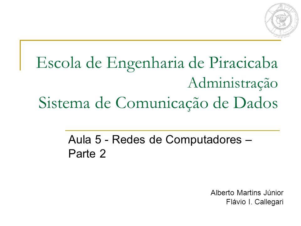 Escola de Engenharia de Piracicaba Administração Sistema de Comunicação de Dados Aula 5 - Redes de Computadores – Parte 2 Alberto Martins Júnior Flávi