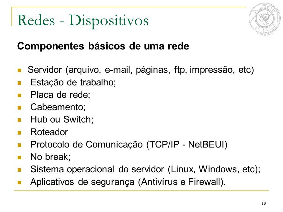 19 Componentes básicos de uma rede Servidor (arquivo, e-mail, páginas, ftp, impressão, etc) Estação de trabalho; Placa de rede; Cabeamento; Hub ou Swi