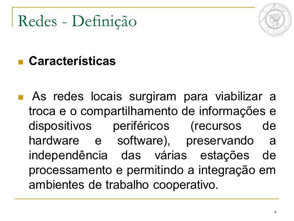 4 Características As redes locais surgiram para viabilizar a troca e o compartilhamento de informações e dispositivos periféricos (recursos de hardwar