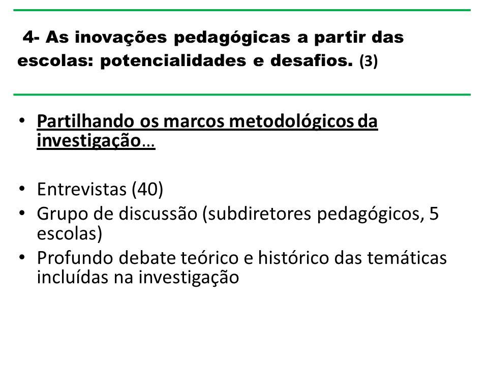 Partilhando os marcos metodológicos da investigação… Entrevistas (40) Grupo de discussão (subdiretores pedagógicos, 5 escolas) Profundo debate teórico e histórico das temáticas incluídas na investigação 4- As inovações pedagógicas a partir das escolas: potencialidades e desafios.