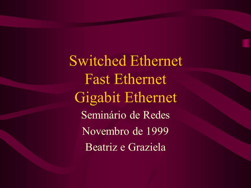 Switched Ethernet Fast Ethernet Gigabit Ethernet Seminário de Redes Novembro de 1999 Beatriz e Graziela