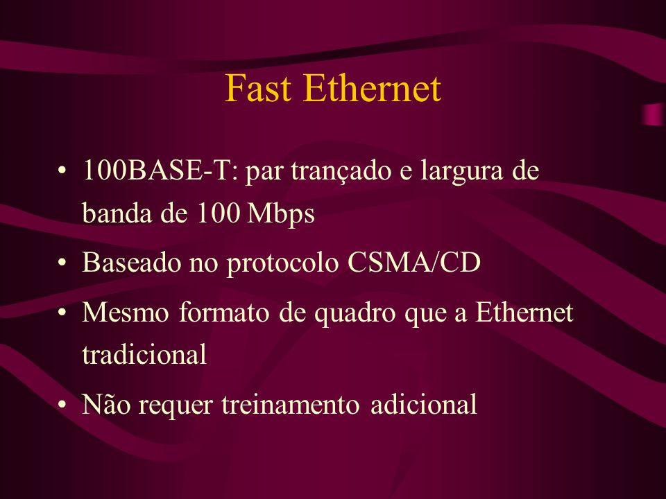 Fast Ethernet 100BASE-T: par trançado e largura de banda de 100 Mbps Baseado no protocolo CSMA/CD Mesmo formato de quadro que a Ethernet tradicional Não requer treinamento adicional