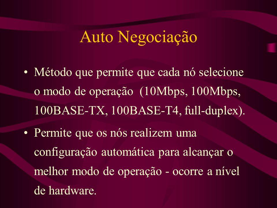 Auto Negociação Método que permite que cada nó selecione o modo de operação (10Mbps, 100Mbps, 100BASE-TX, 100BASE-T4, full-duplex).