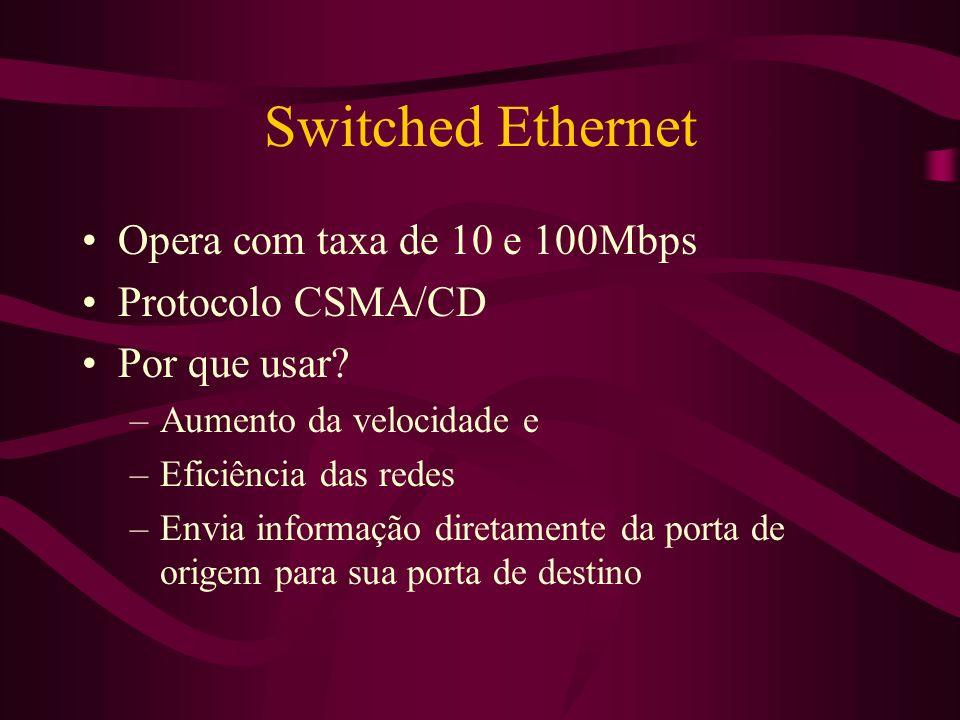 Switched Ethernet Opera com taxa de 10 e 100Mbps Protocolo CSMA/CD Por que usar.