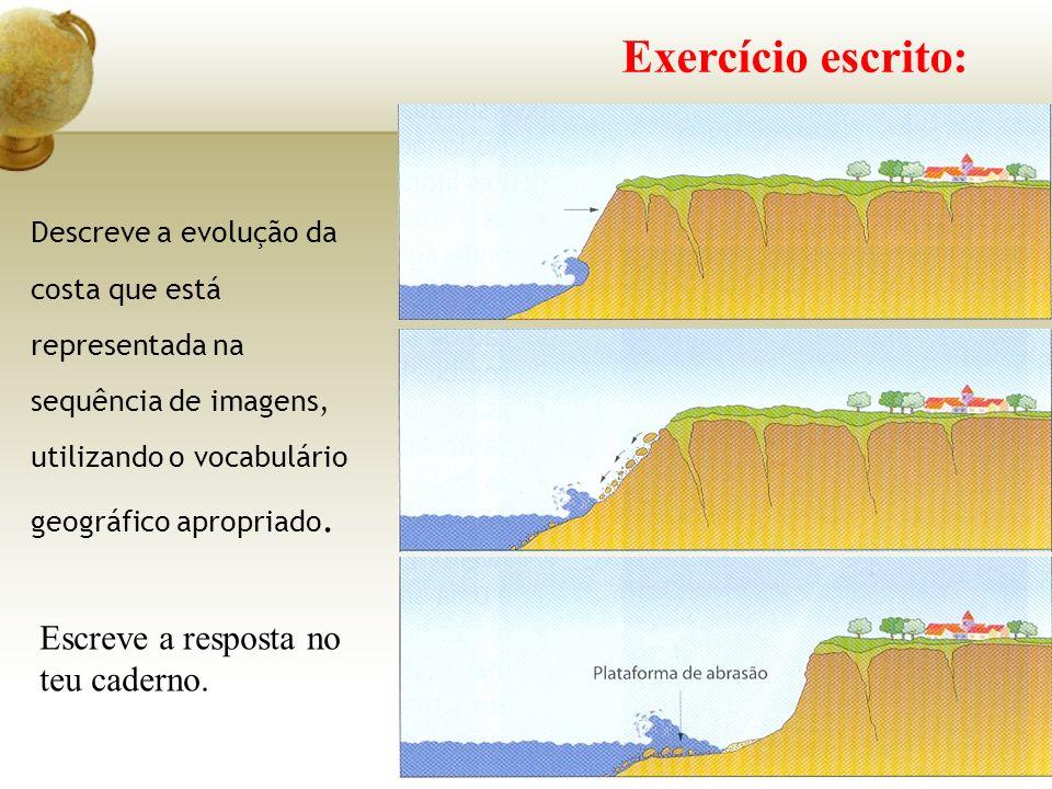 Exercício escrito: Descreve a evolução da costa que está representada na sequência de imagens, utilizando o vocabulário geográfico apropriado.
