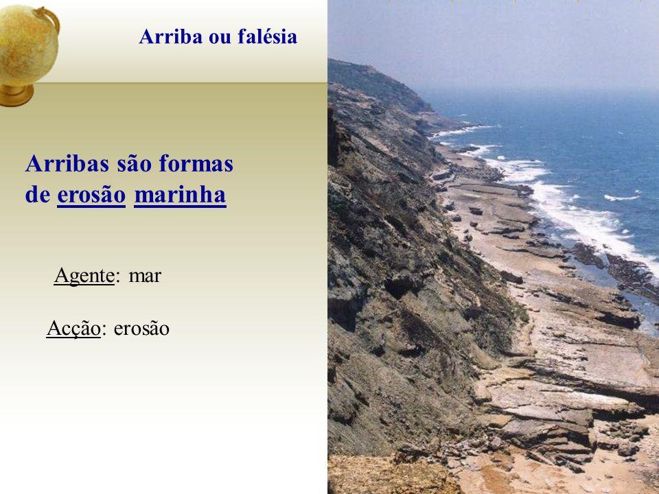 Arribas são formas de erosão marinha Agente: mar Acção: erosão
