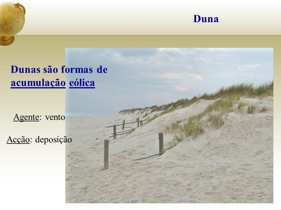 Duna acumulaçãoeólica Dunas são formas de acumulação eólica Agente: vento Acção: deposição