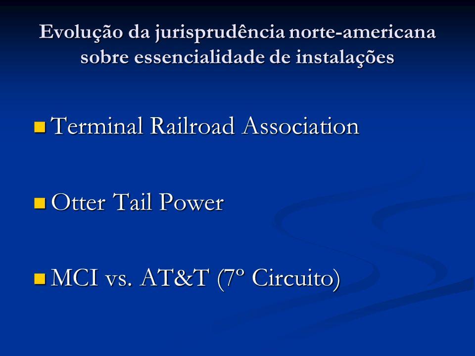 Evolução da jurisprudência norte-americana sobre essencialidade de instalações Terminal Railroad Association Terminal Railroad Association Otter Tail Power Otter Tail Power MCI vs.