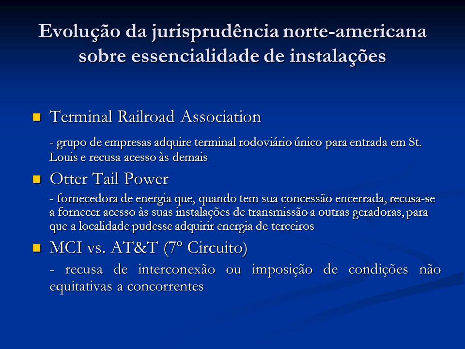Evolução da jurisprudência norte-americana sobre essencialidade de instalações Terminal Railroad Association Terminal Railroad Association - grupo de empresas adquire terminal rodoviário único para entrada em St.