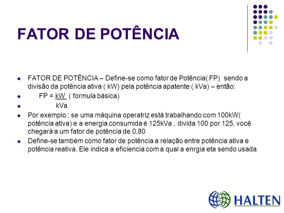 FATOR DE POTÊNCIA FATOR DE POTÊNCIA – Define-se como fator de Potência( FP) sendo a divisão da potência ativa ( kW) pela potência apatente ( kVa) – en