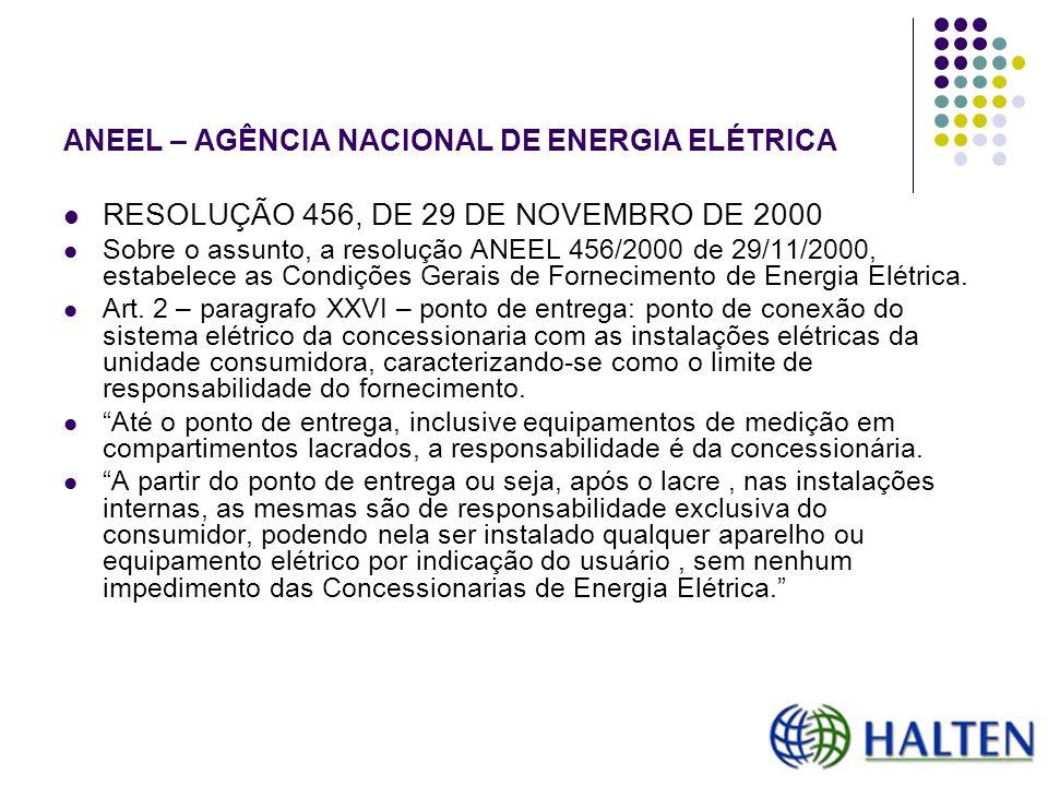ANEEL – AGÊNCIA NACIONAL DE ENERGIA ELÉTRICA RESOLUÇÃO 456, DE 29 DE NOVEMBRO DE 2000 Sobre o assunto, a resolução ANEEL 456/2000 de 29/11/2000, estab