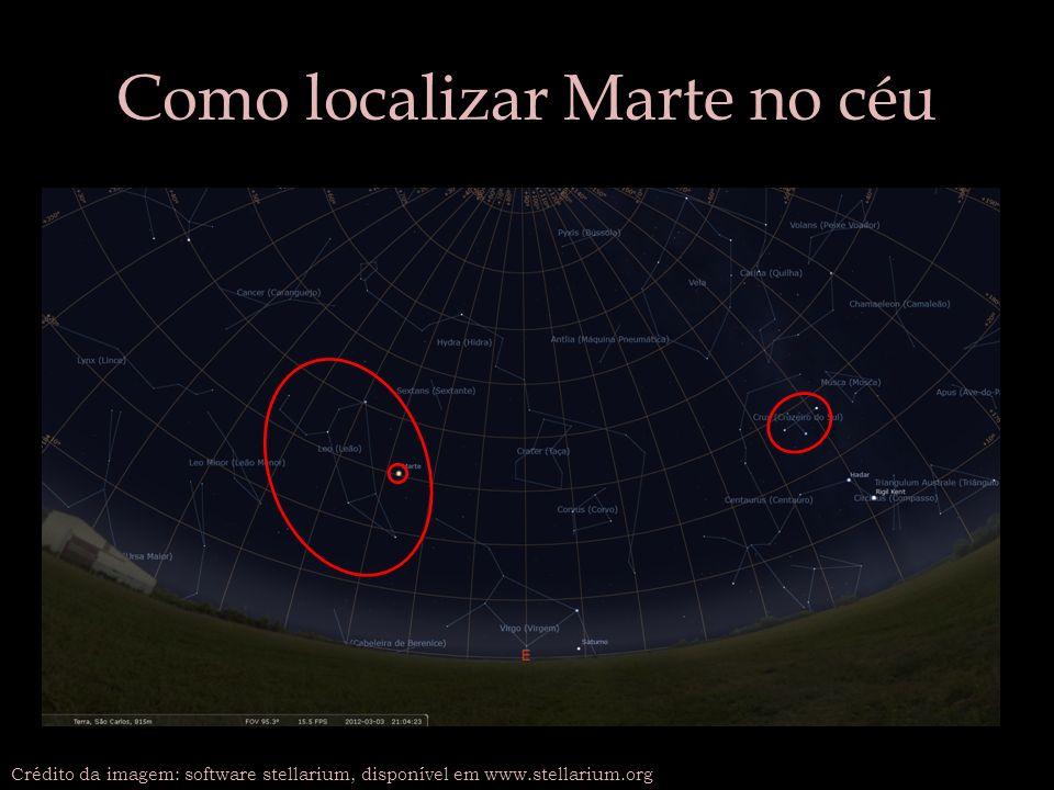 Como localizar Marte no céu Crédito da imagem: software stellarium, disponível em www.stellarium.org
