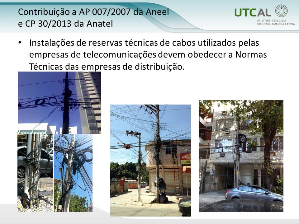 Instalações de reservas técnicas de cabos utilizados pelas empresas de telecomunicações devem obedecer a Normas Técnicas das empresas de distribuição.