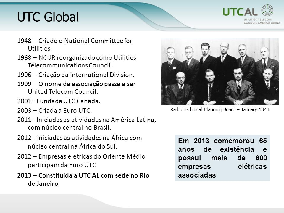 UTC Global 1948 – Criado o National Committee for Utilities.