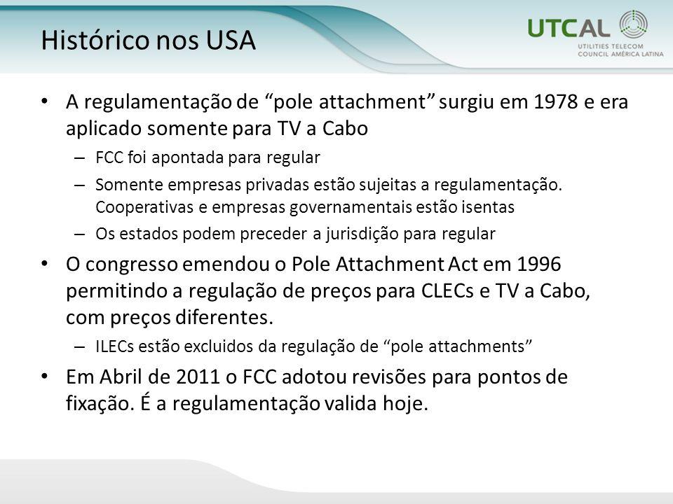 Histórico nos USA A regulamentação de pole attachment surgiu em 1978 e era aplicado somente para TV a Cabo – FCC foi apontada para regular – Somente empresas privadas estão sujeitas a regulamentação.