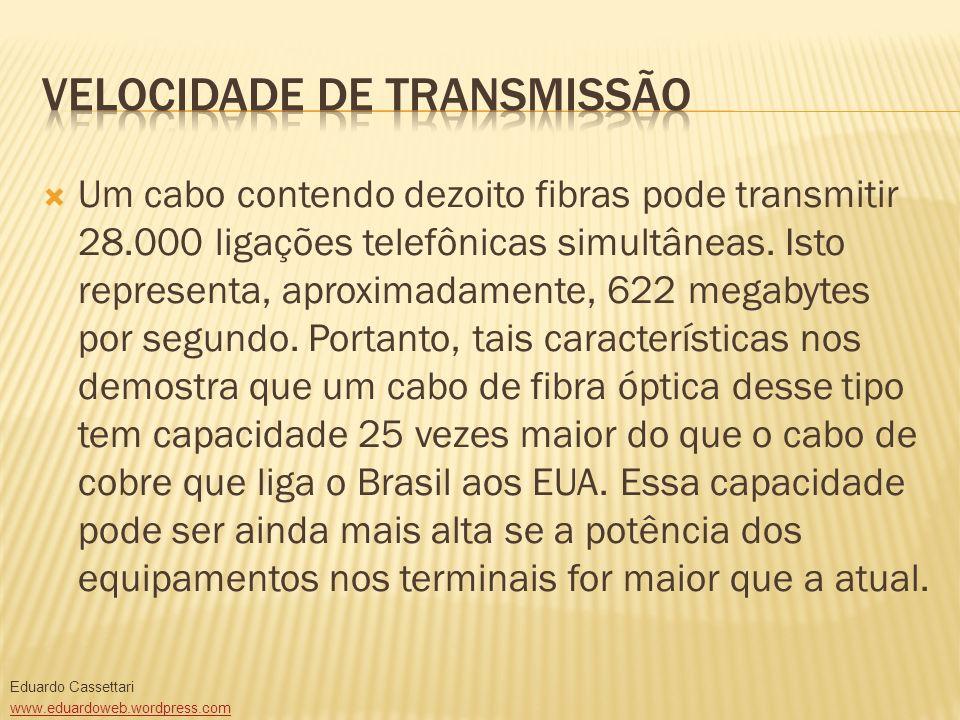 Um cabo contendo dezoito fibras pode transmitir 28.000 ligações telefônicas simultâneas. Isto representa, aproximadamente, 622 megabytes por segundo.