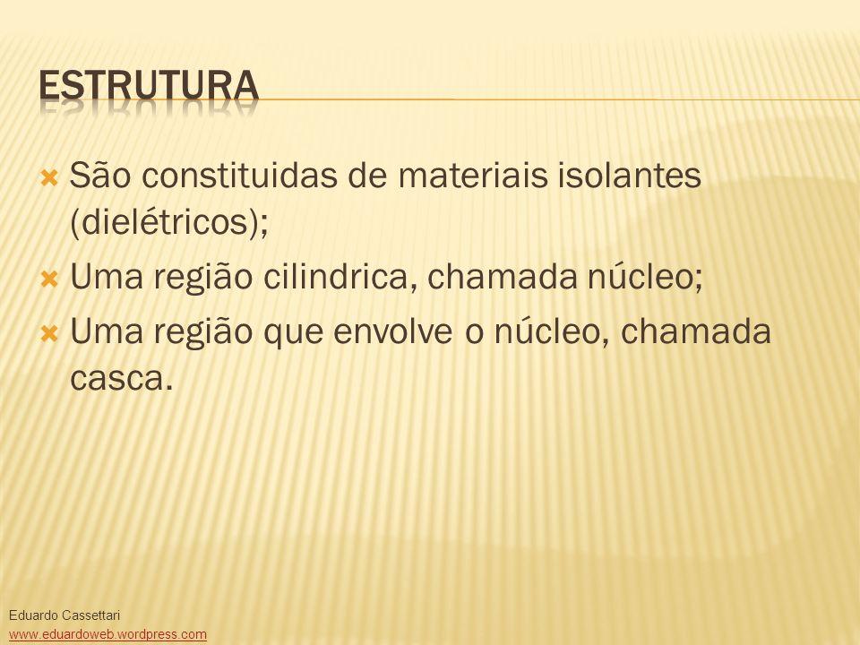 São constituidas de materiais isolantes (dielétricos); Uma região cilindrica, chamada núcleo; Uma região que envolve o núcleo, chamada casca. Eduardo